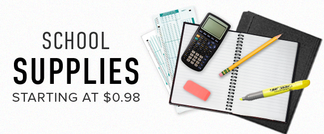 Picture of school supplies. School Supplies starting as low as $0.98. Click to shop now.